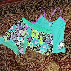 Flower Tankini Top Bottom Skirt 3 piece Swim Suit